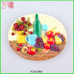 YC1617706 2015 china round new design 3d fruit and flower sourvenir resin fridge magnet