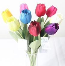 Cheap wholesale artificial tulip flowers single stem for decoration