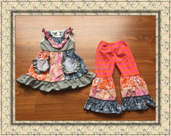 2015 new style remake outfits hot sale kids sets little girls sleeveless dress and loose pants