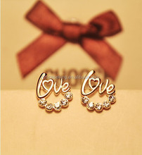Fashion letter love stud earring,cheap gold jewelry needle earrings with crystals