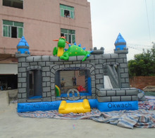 2015 hot commercial inflatable dragon castle bouncer