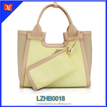 2015 NEW fashion design ladies beige color genuine leather hangbags beautiful style women's tote bag