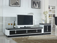 Leading product wood antique style long curved glass TV stand