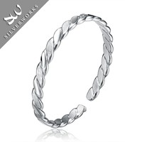Silver Jewelry Manufacturer Simple Handmade Simple Design Cuff Bangle