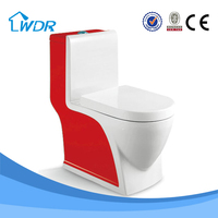 Colorful red porcelain sanitary home integral toilet