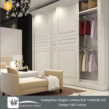 European style Wooden white sliding wardrobe with solid wood door 2015