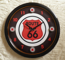 American route 66 Round Antique Wooden Wall Clock with Wooden Hands
