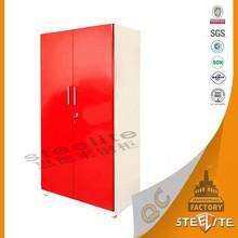 Home bedroom furniture new style decorative red steel almirah wardrobe / godrej steel almirah