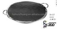 Round Stainless Steel Edge Black Slate Tray With Metal Handle To Service Food