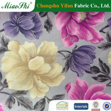 Bright blossoming paper printing floral pattern metallic velour for home textile