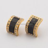full cz crystals square earrings black resin 18k gold printing stud earrings