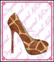 Aidocrystal fashion rhinestone pertty girls party shoes 14cm high heel matching clutch bag