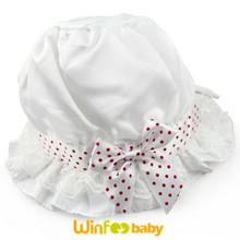 Newborn Infant Baby Silk Satin bonnet Polka Dots Lace Bow Sun hat