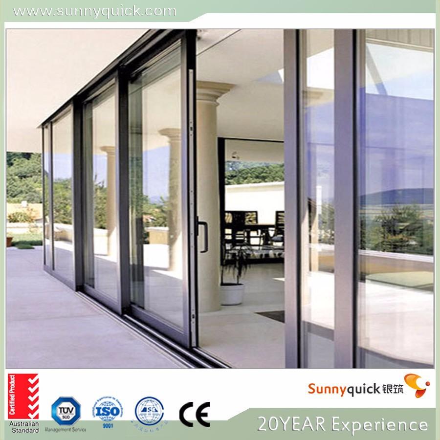 China manufacture aluminium frame glass sliding door for Sliding glass door frames