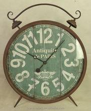 Big antique rust iron double bell floor standing clock