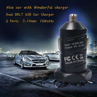 Promotional Output DC 5V 3.1A Portable Dual Port Car USB Charger football car charger