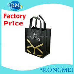 Black promotional two Color two sides silk printing ECO non woven bag