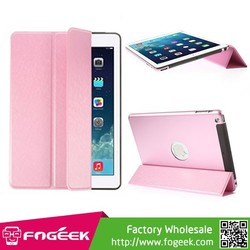 Fast Shipping YED for iPad Air Smart Tri-fold Silk Texture Leather Front Cover + Metal Back Shell