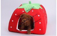 machine washable DOG CAT pet bed New Free Shipping High Quality Strawberry Sponge Pet House Bed Cat Dog Kennel Warm Cushion