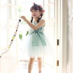 ta1574 hgh quality kids party wear elegant girl puffy dress with big bow