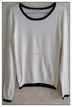 Simpleest long sleeve knitting wear roung neck girl white pullover