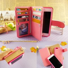 Strong magnetic separable phone pouch for iphone 6 mobile phone bag with card slots cash pockets wholesale