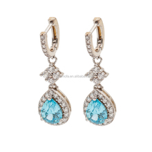 Wedding Jewelry in Sterling Silver Bridals'Earring in Lt.Blue Color