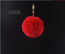 popular dyed natural real rabbit fur ball pom poms keychian