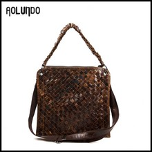 New trend weave genuine leather handbag import wholesale in china factories