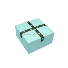The Cube Ingenious Blue Vinyl Paper Wrapped Plastic Watch Case