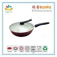 Hot selling korea red aluminum non stick excellent white ceramic coating induction 32cm wok