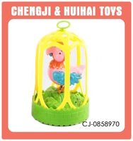 Battery operated sound control plastic singing bird toy