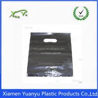 Black pictures Plain Cheap Die Cut Punch Recycle Plastic Bag Promotional.