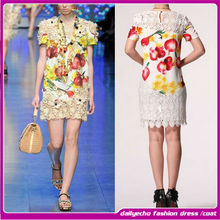 Fashion Embroidery design women dress.silk and lace summer dress 2014