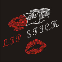 Lips stick rhinestone transfers with letter iron ons for garments FY60 (17)