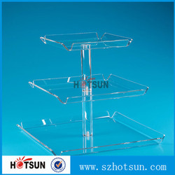 For bakery No glue 3 tiers clear acrylic cupcake dispaly stand with tray