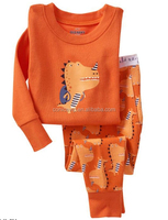 wholesale baby boys and girls long sleeve orange cute pajamas sets boutique children autumn clothing set for christmas
