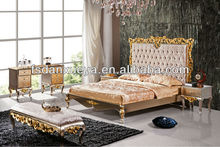 2015 luxury Pure hand carved European princess bed
