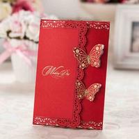 high class fancy design 2015 invitation card butterfly