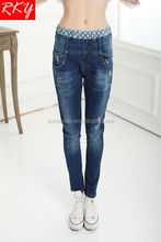 2015 woman elastic waist skinny jeans with dot and letter print