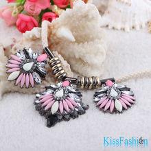 2014 collar de declaración de moda las flores rosadas joyería barata para las mujeres