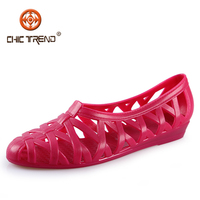 2014 new produts lady pvc jelly Flat Sandal Shoes Hollow Cut Out Low Heel sandals women Single Shoes