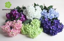 Plastic flowers wedding cheap silk hydrangea flowers bouquet wholesale