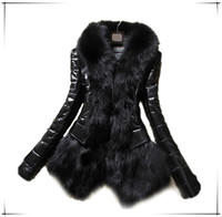 2015 Hot Luxury Women's Faux Fur Coat Leather Outerwear Snowsuit Long Sleeve Jacket Black jacket for winters leather jacket F64