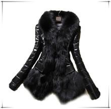 2015 Hot Luxury Women's Faux Fur Coat Leather Outerwear Snowsuit Long Sleeve Jacket Black jacket for winters leather jacket F64
