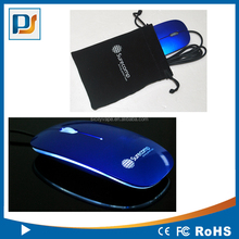 Retractable USB Cable Wired Optical Slim Flat Mini Mouse With blue LED Logo
