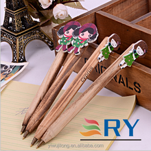 2015 new wooden cartoon girl ball pen for promotion