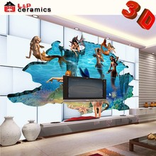 2015 beautiful fish style micro crystal porcelain 3d floor pictures