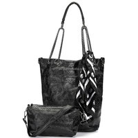 New Fashion Female Chain Lovely Skull Pattern Ribbons Causal Handbags Top-handle Womans Bags Leather Ladies Lash Package