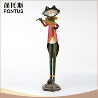 Charming design vintage red tall cat metal garden pool ornaments
